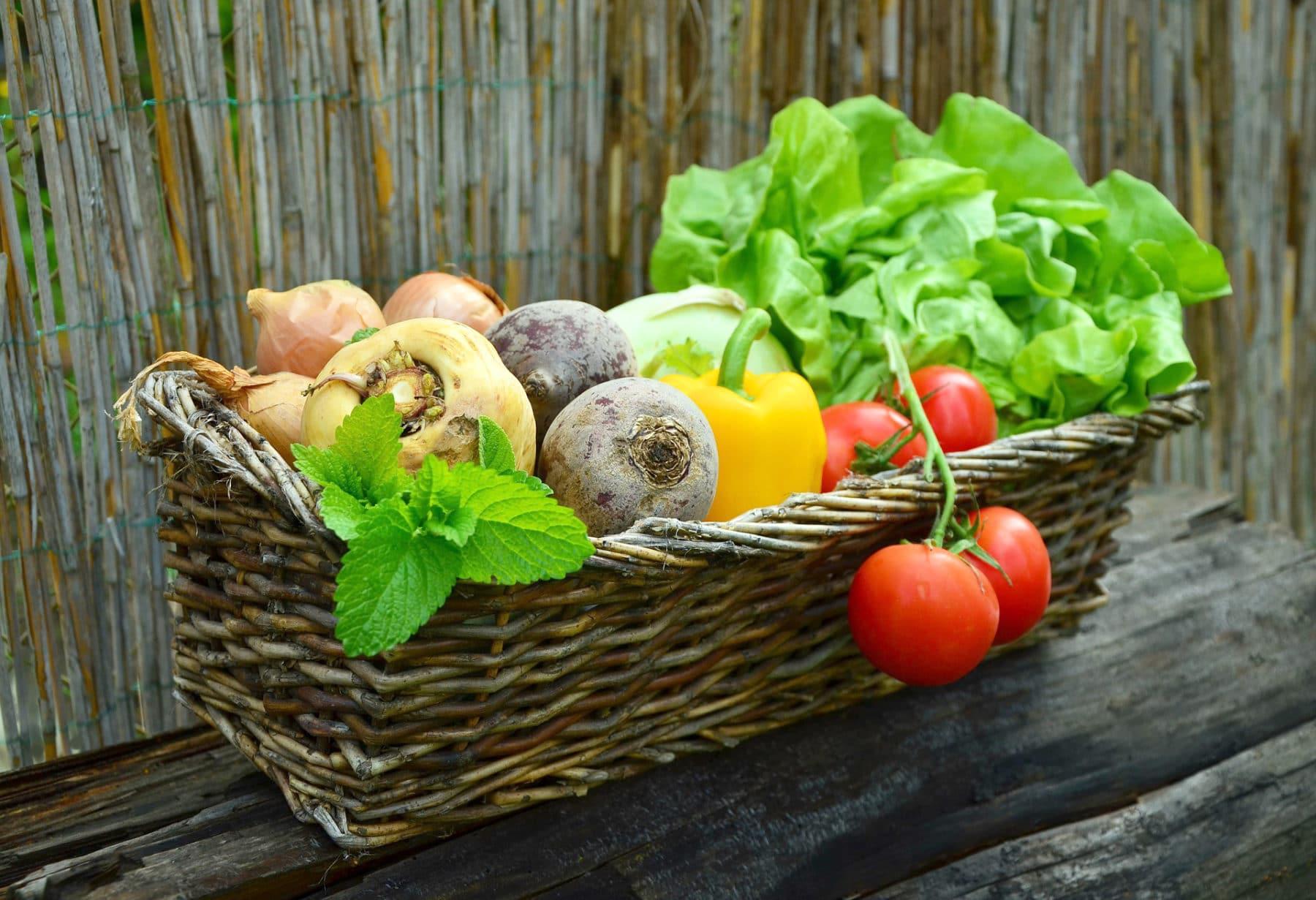 ein Korb voller gesundem Gemüse